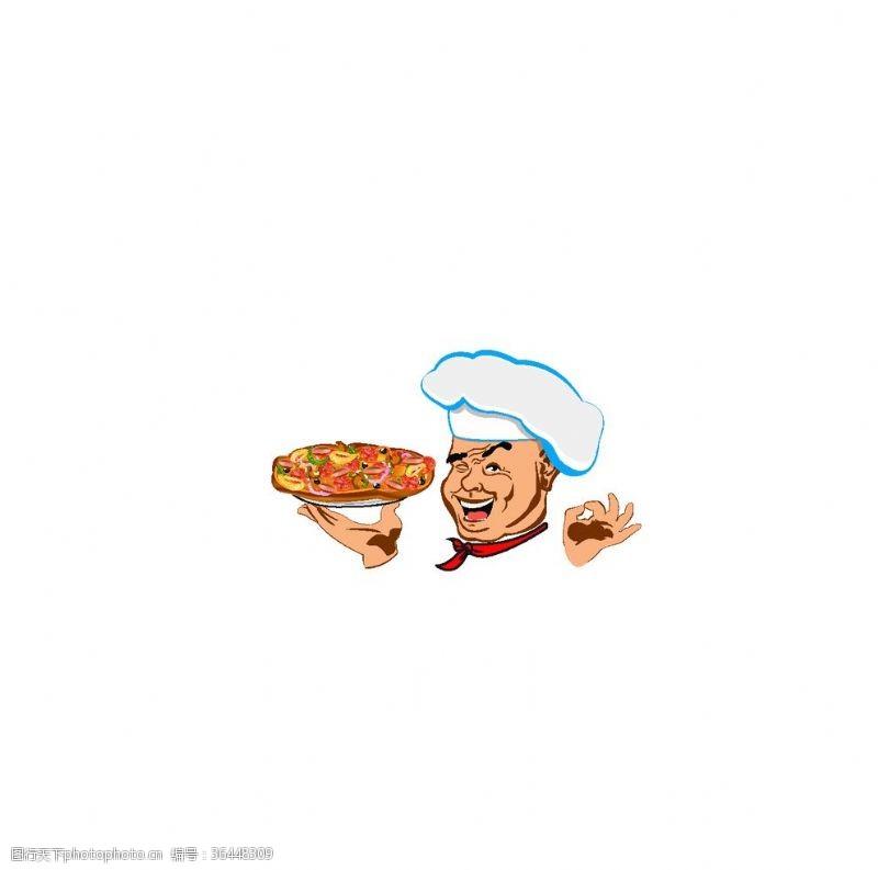ok手势厨师卡通素材设计