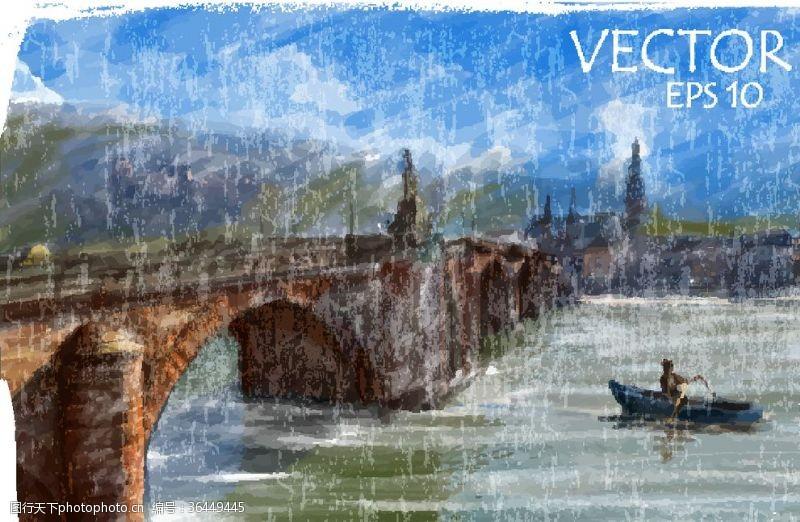 建筑家居大桥水彩画装饰画建筑艺术背景