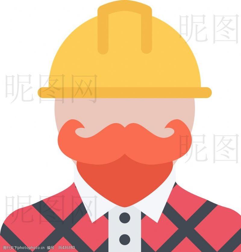 人字梯建筑人员UI标识标志