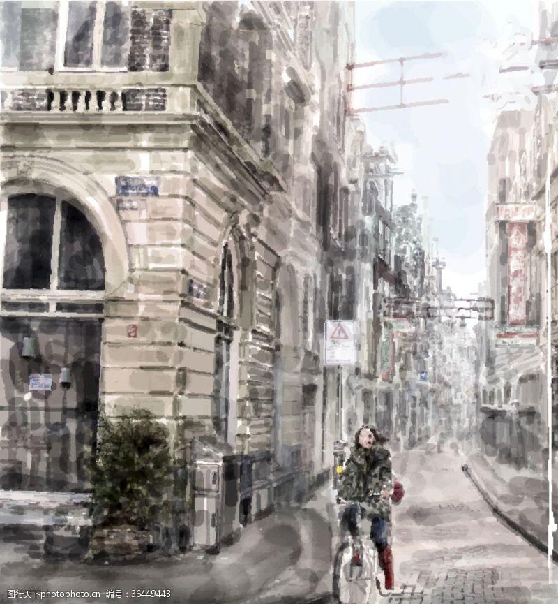 建筑家居骑自行车在城市中穿梭唯美图