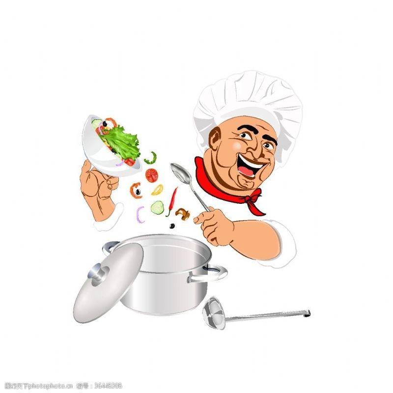 ok手势做饭的厨师卡通素材设计