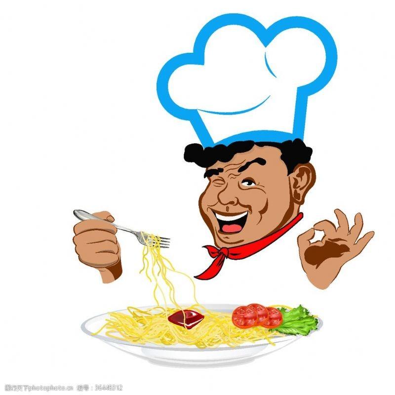 ok手势吃东西的厨师卡通素材