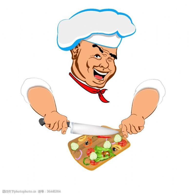 ok手势卡通厨师做饭素材设计