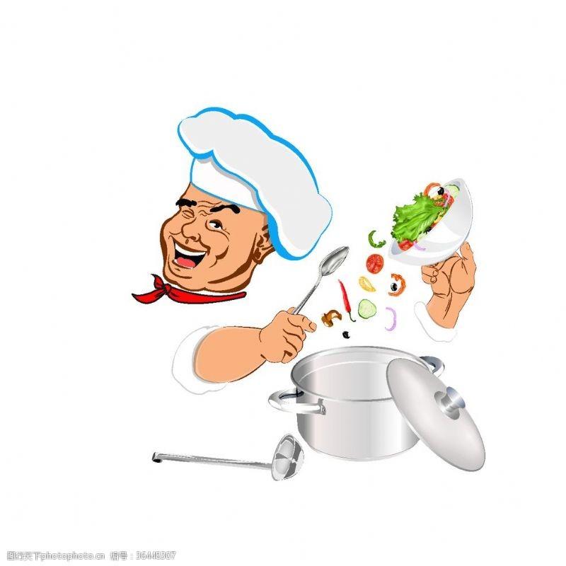 ok手势可爱卡通厨师做饭素材图