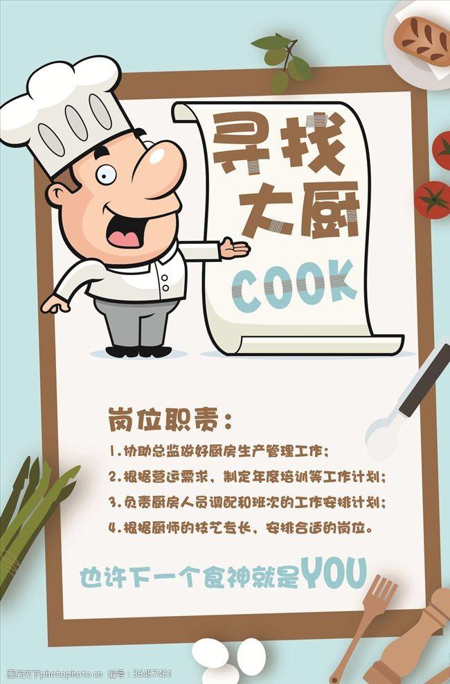 厨师卡通人物厨师招聘