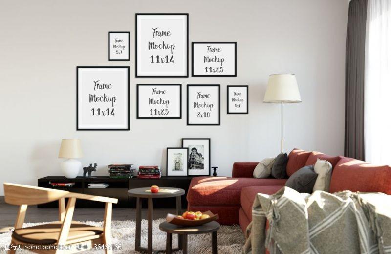 卧室无框画室内相框组合设计