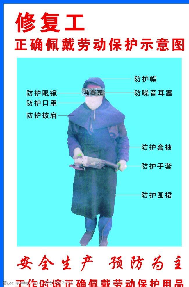 防护与保护修复工正确佩戴劳动保护示意图