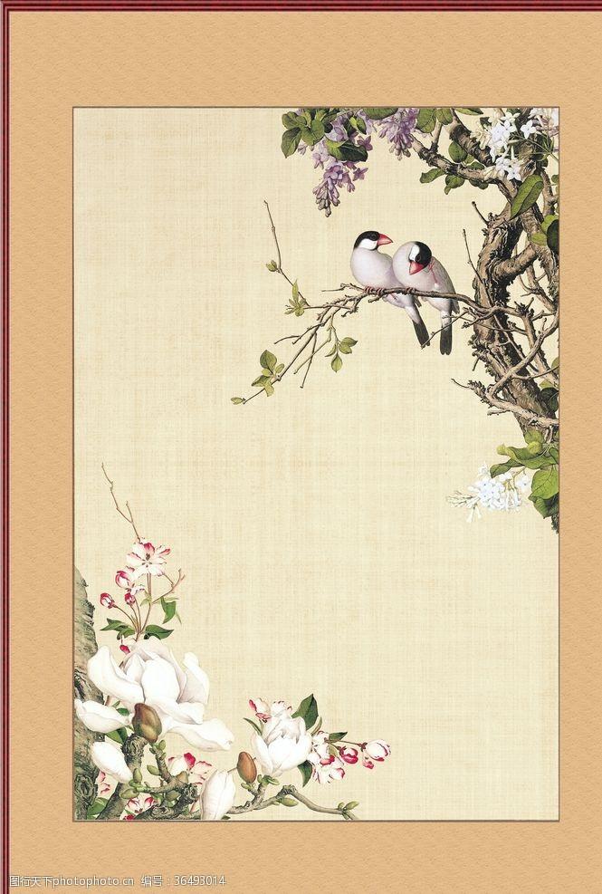 树枝小鸟古典素材