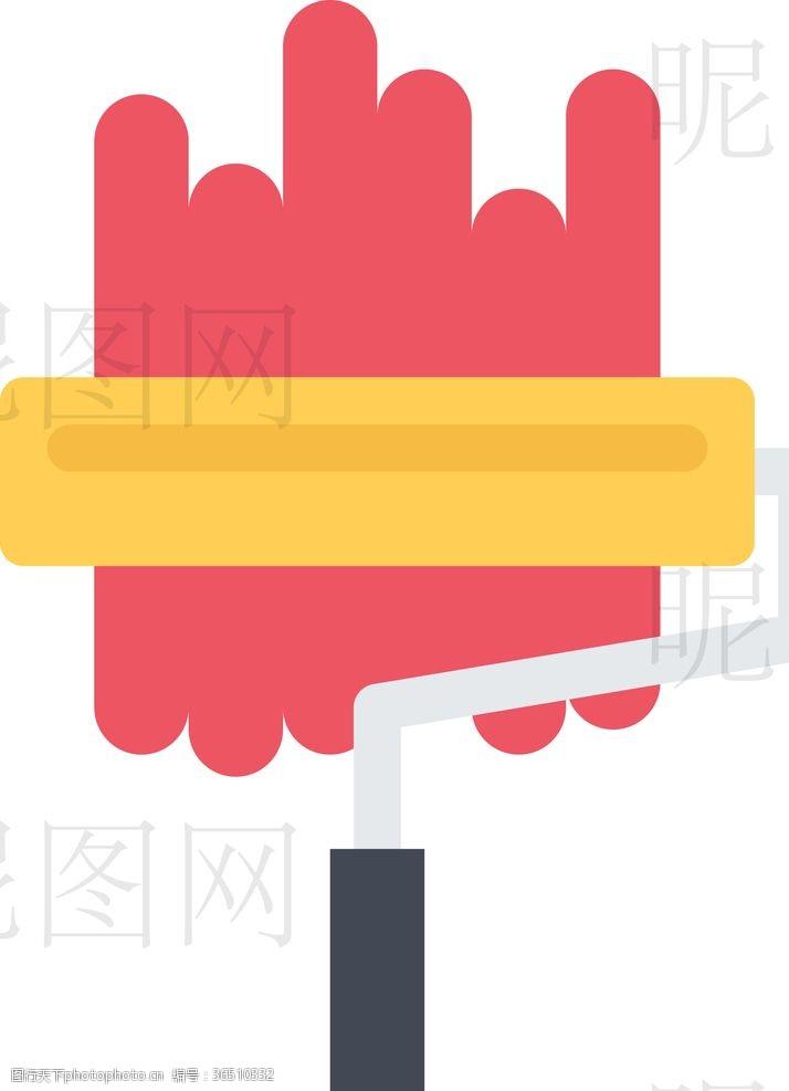 人字梯刷墙UI标识标志