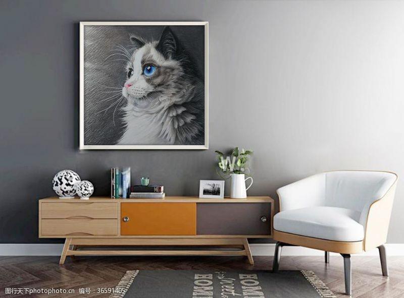 蓝眼睛装饰画猫