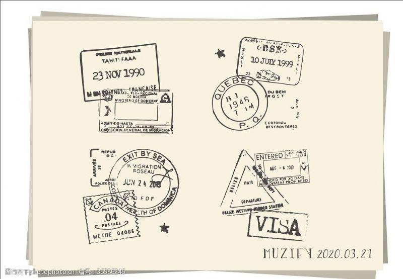 4款入复古邮戳素描画