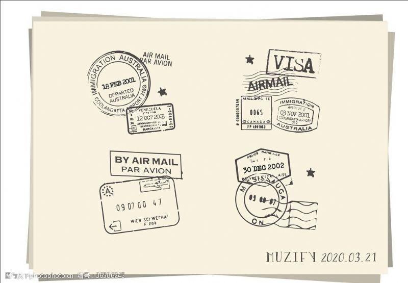 4款入复古邮戳素描画1