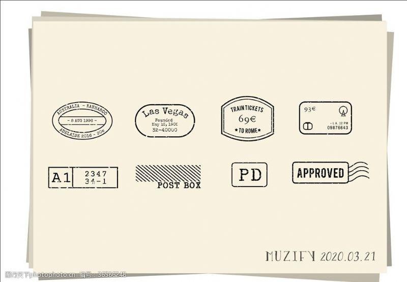 8款入复古邮戳素描画