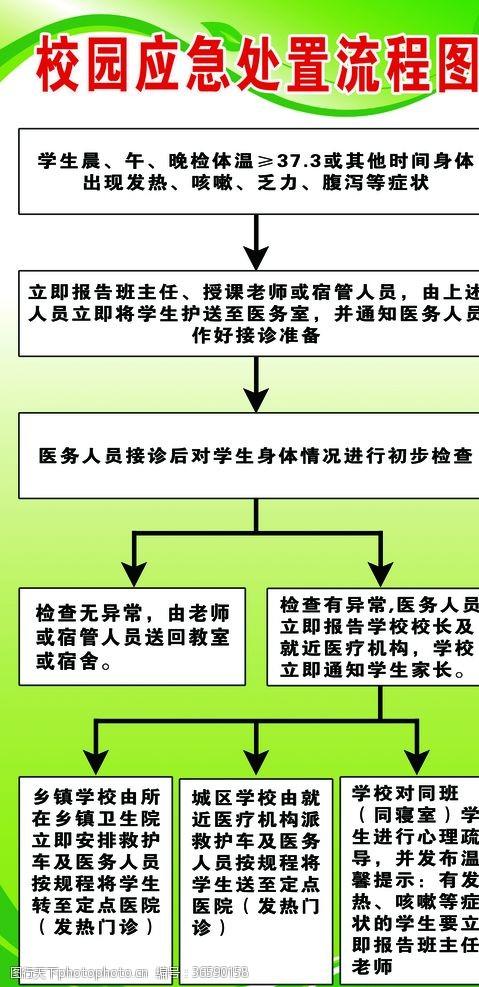 校园展板模板新冠状病毒校园应急处置流程图