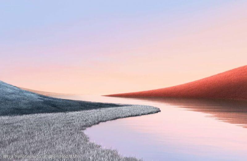 电脑合成自然合成山水夕阳壁纸