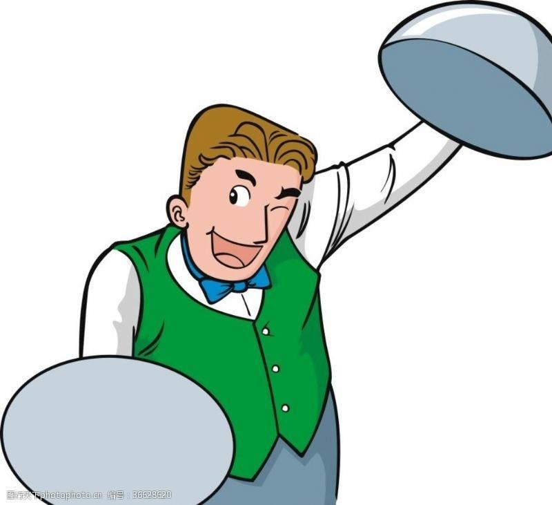 厨师卡通人物服务员