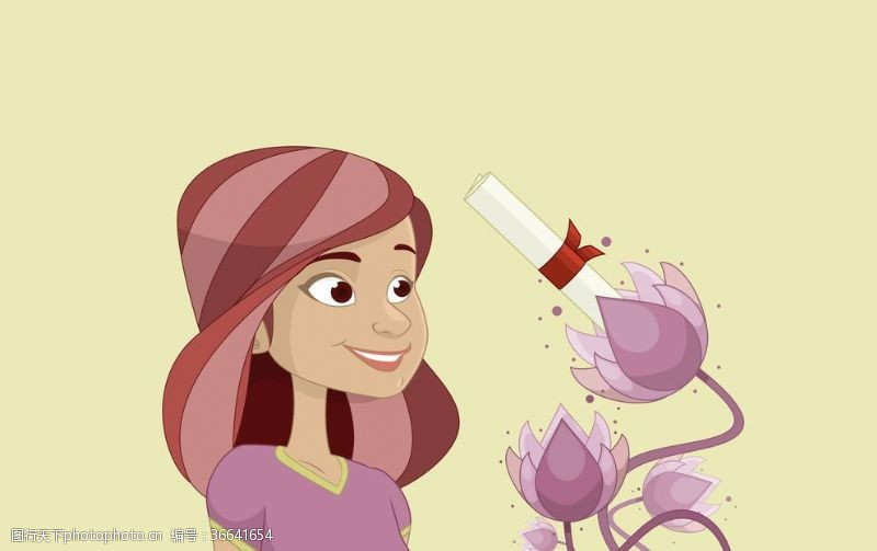 鲜花女孩女人与花卉插画