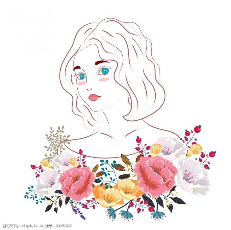 蓝眼睛美丽的花卉女子