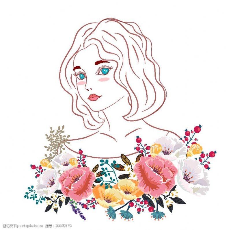 蓝眼睛美丽花卉和女子