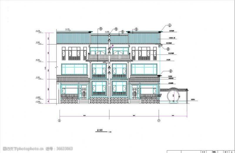 cad素材中式别墅全套施工图