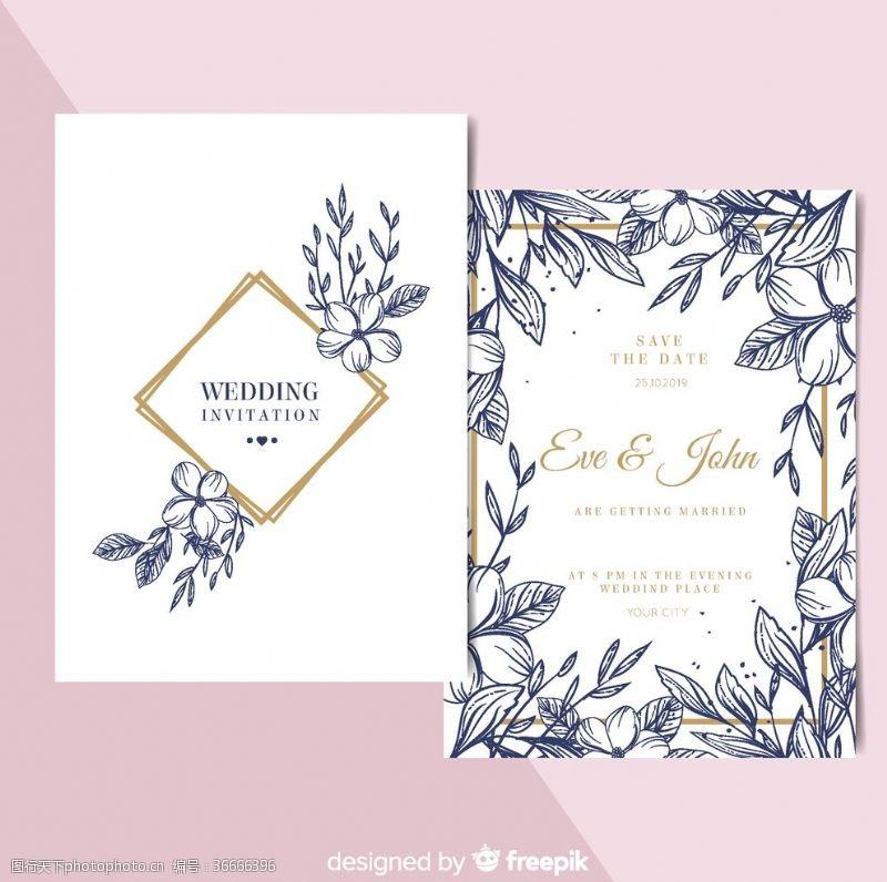 正反面手绘花卉婚礼邀请卡