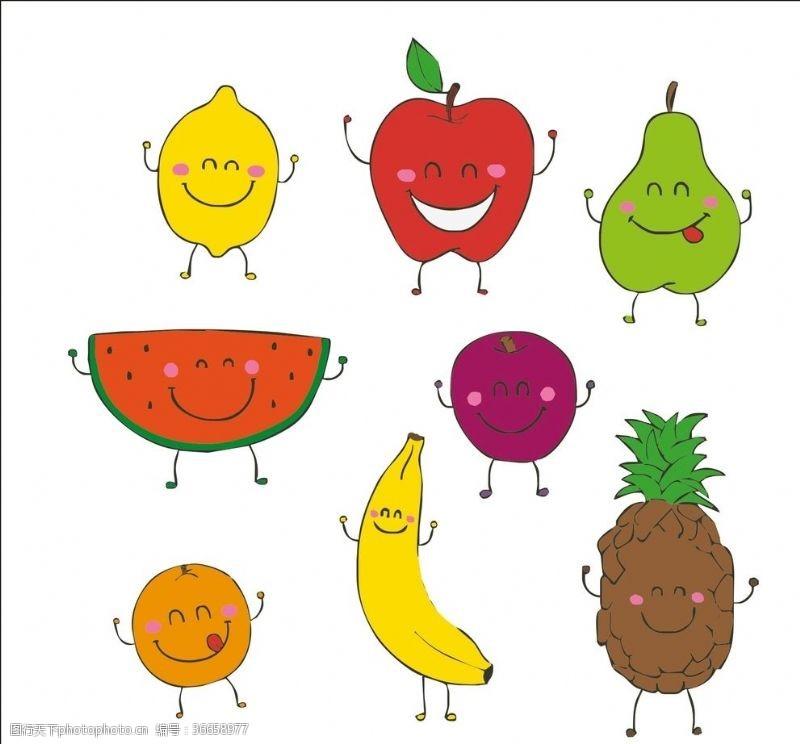 动漫水果卡通笑脸水果矢量
