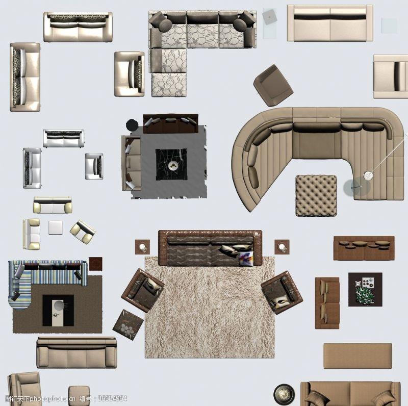 建筑家居家具平面彩图