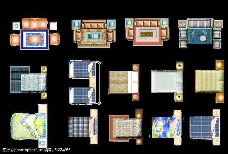 建筑家居室内家具平面彩图