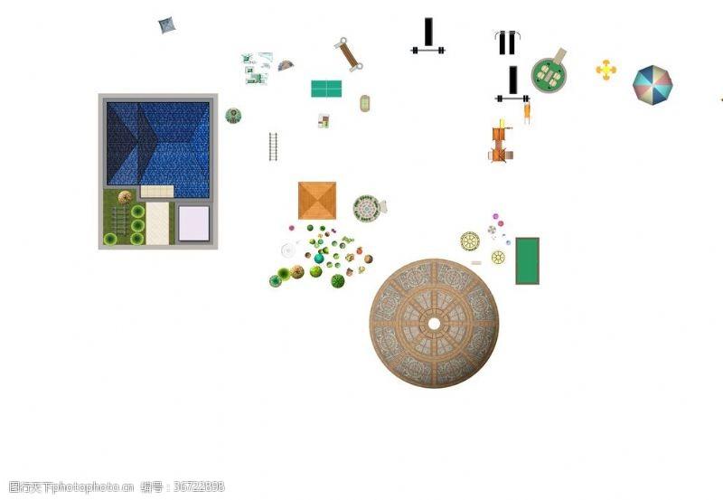 景观规划景观小品平面贴图