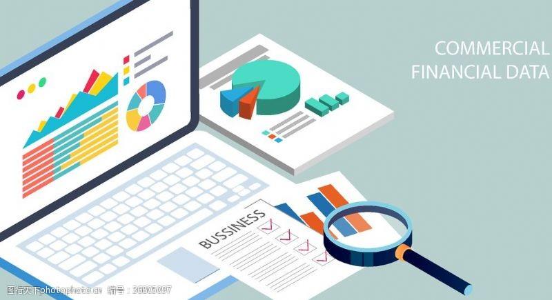 金融场景2.5D科技分析金融数据场景插