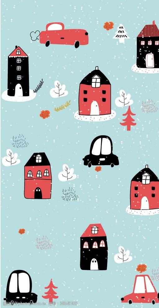 手账素材创意冬季房屋和车辆