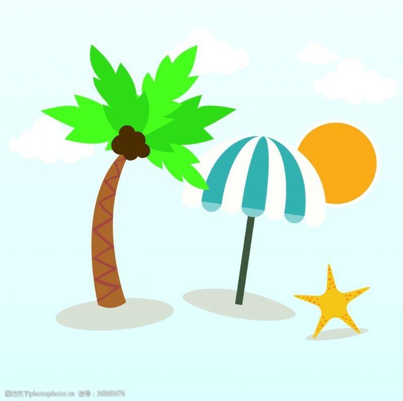 彩色夏季元素椰子树