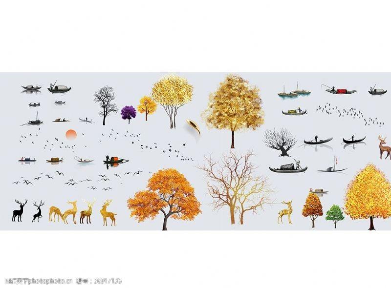 共享作品免抠图设计元素船树鹿鸟素材