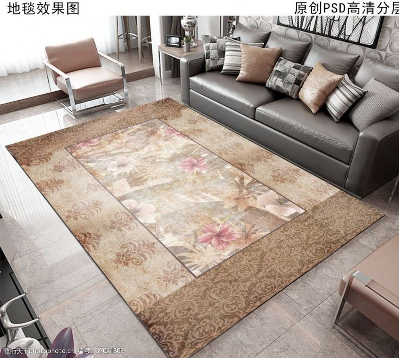 家居布艺复古花纹欧式地毯