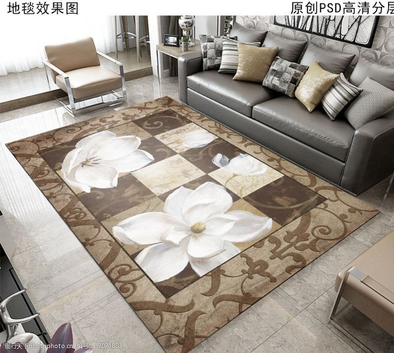 家居布艺复古花卉欧式地毯