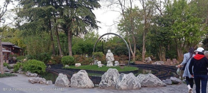 喷泉景观花园绿植景观设计佛像