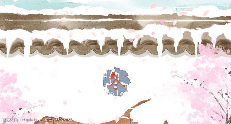 中国水墨节气立冬大雪