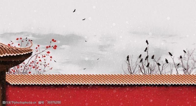 中国水墨节气秋季喜鹊