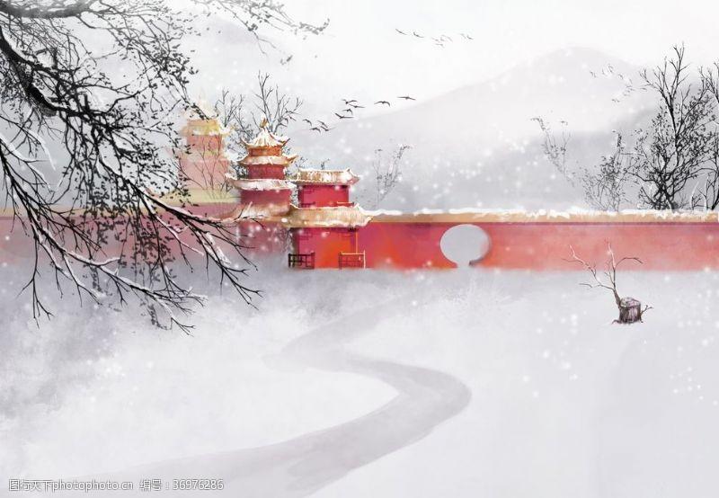中国水墨节气古风围墙