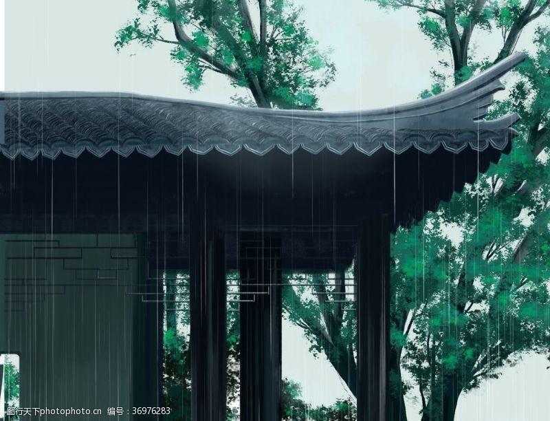 中国水墨节气清明时节雨风风