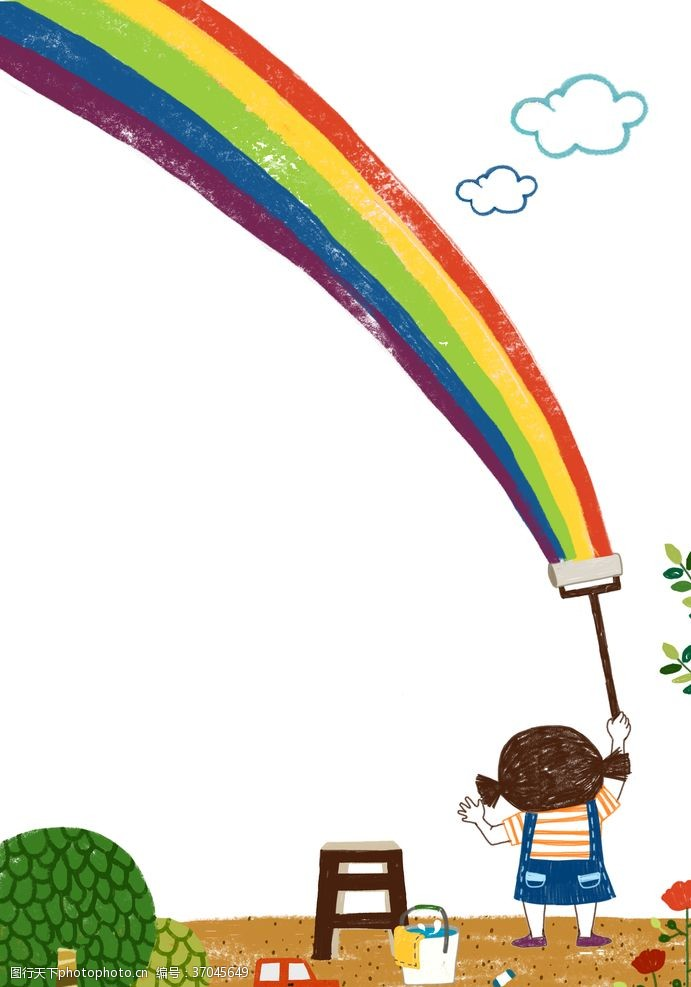 免费素材可爱卡通彩笔艺术风格插画