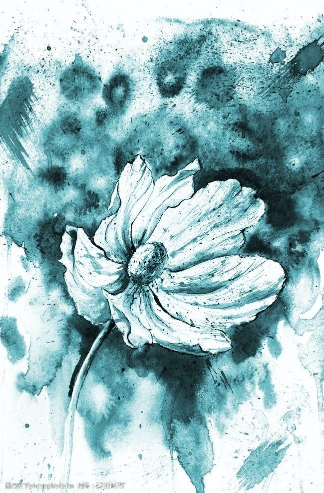 张力蓝色花朵绘画