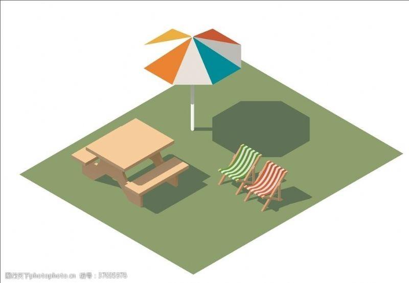 大伞沙滩椅