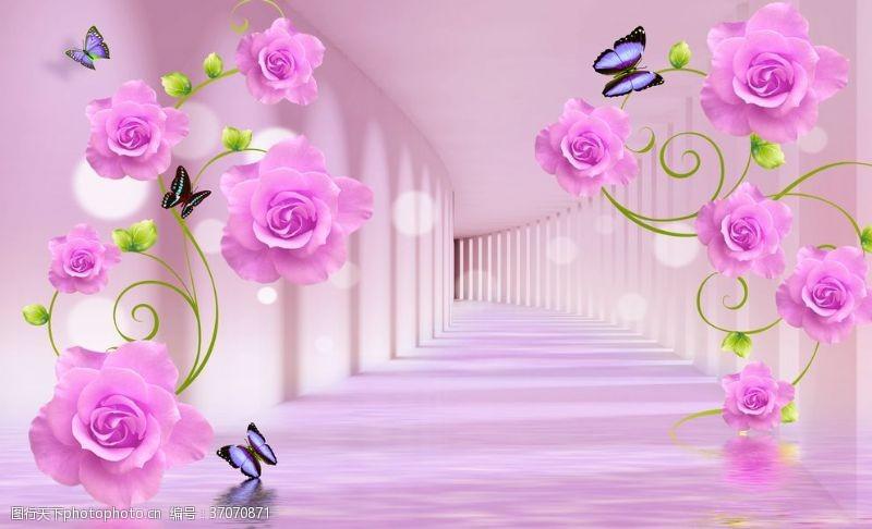 绿叶藤3D空间花朵背景墙