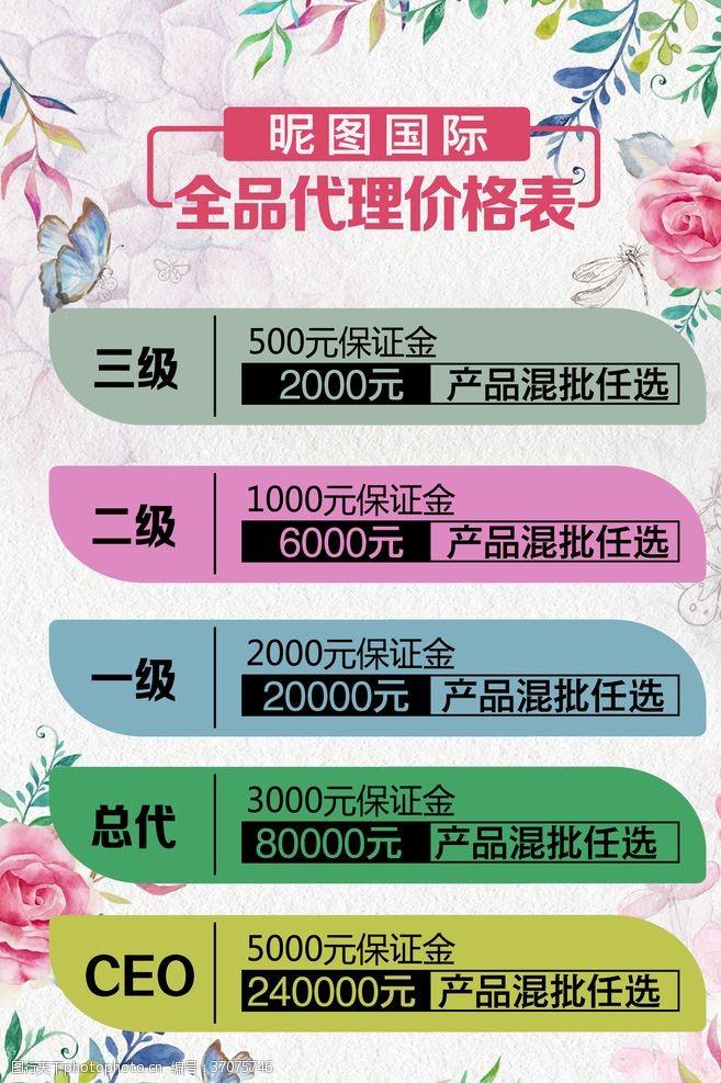 化妆品价目表代理价格表