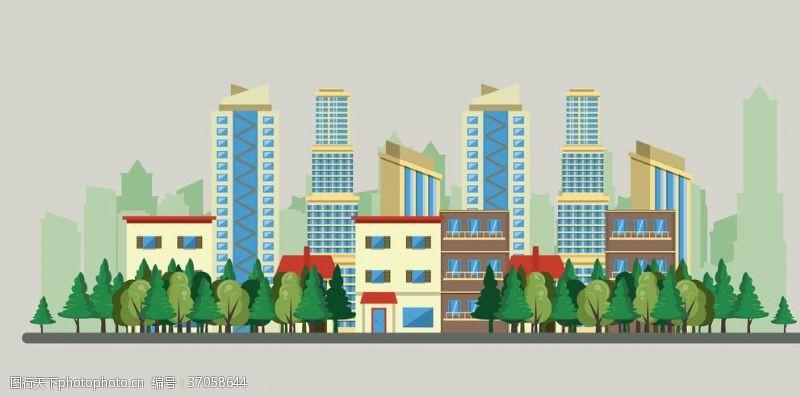 清洁城市卡通城市