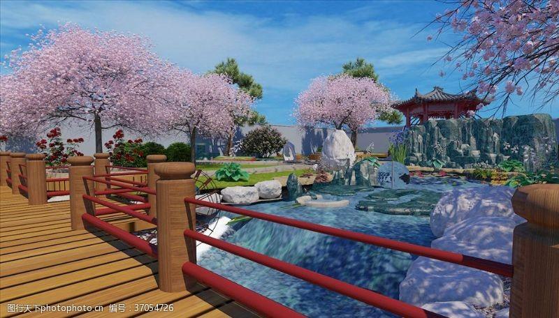 花草模型小学学校绿化水系3dmax模型