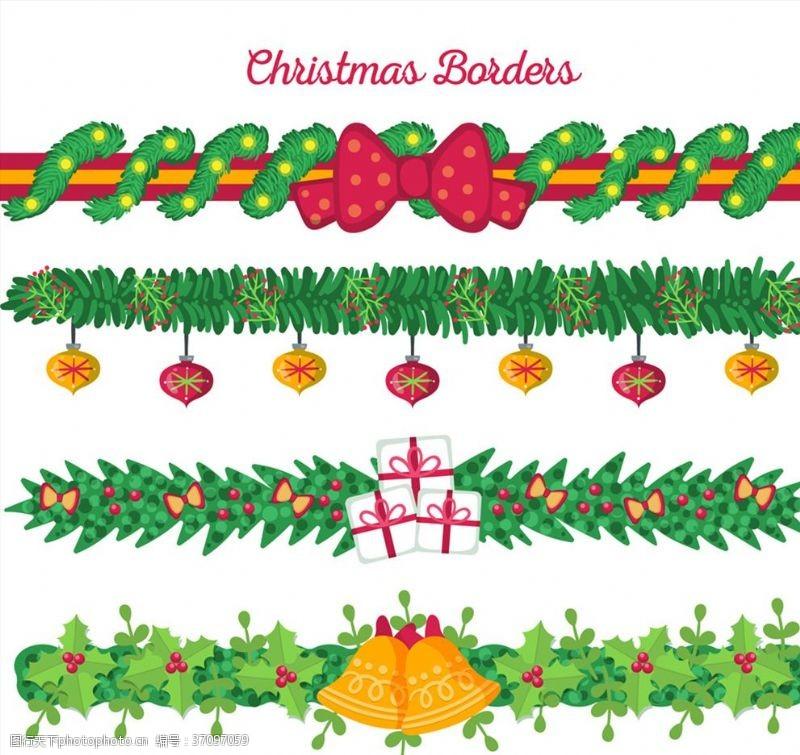彩色圣诞节花边矢量素材