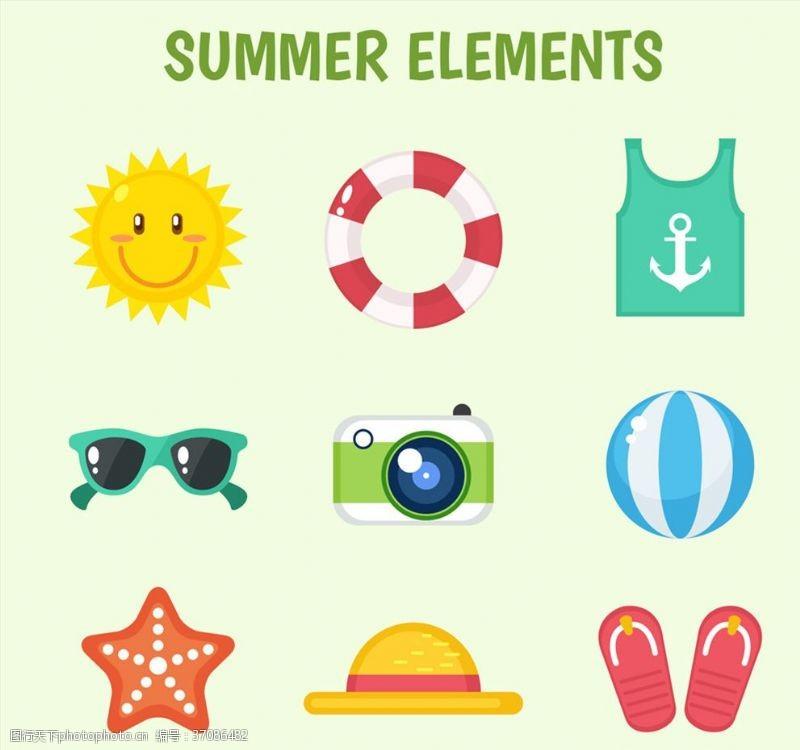 彩色夏季元素图标矢量素材