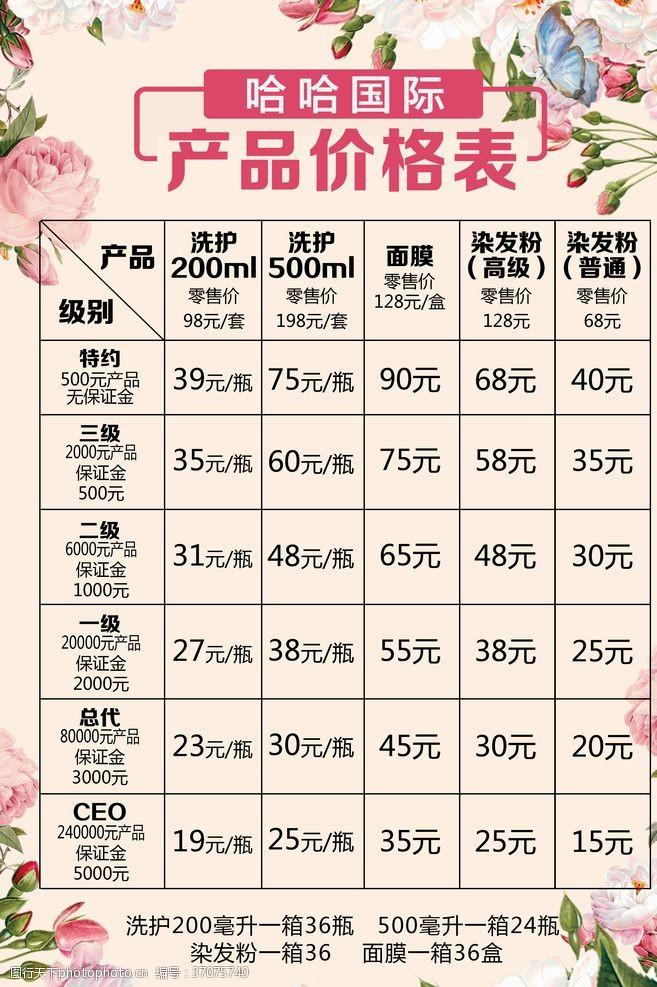 化妆品价目表产品价格表